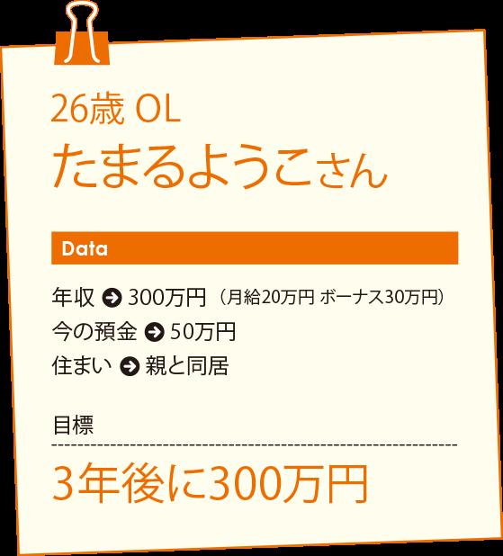26歳 OL たまるようこさんの目標は、3年後に300万円
